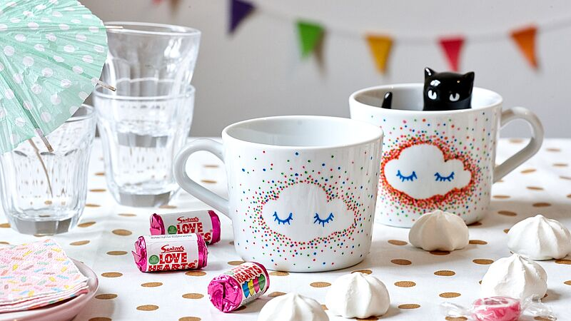 Cheery hand-painted mugs