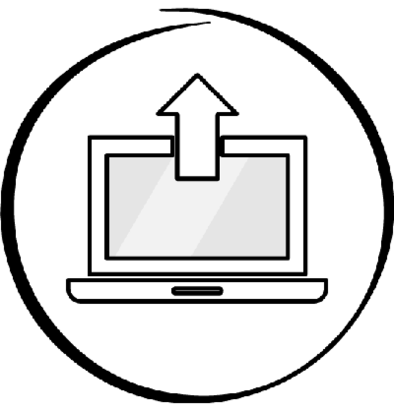Illustration of a notebook and an arrow going up, symbolising an online upload