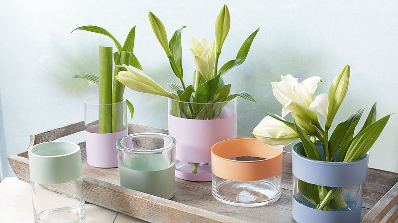Glass vases in pastel colours