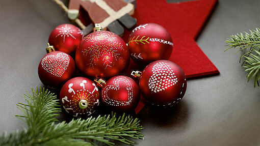 Hand decorated baubles for Christmas