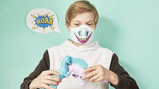 Design a colourful protective face mask for children