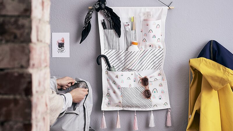 DIY hanging storage pockets
