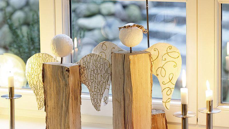 festliche weihnachtsdeko holzengel basteln ideen edding. Black Bedroom Furniture Sets. Home Design Ideas