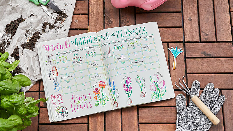 Bullet journal March: garden planner