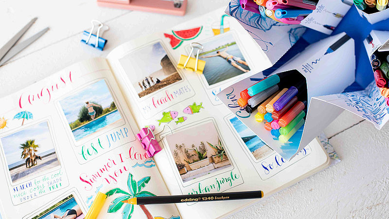 Travel journal with the Colour Happy Big Box from edding