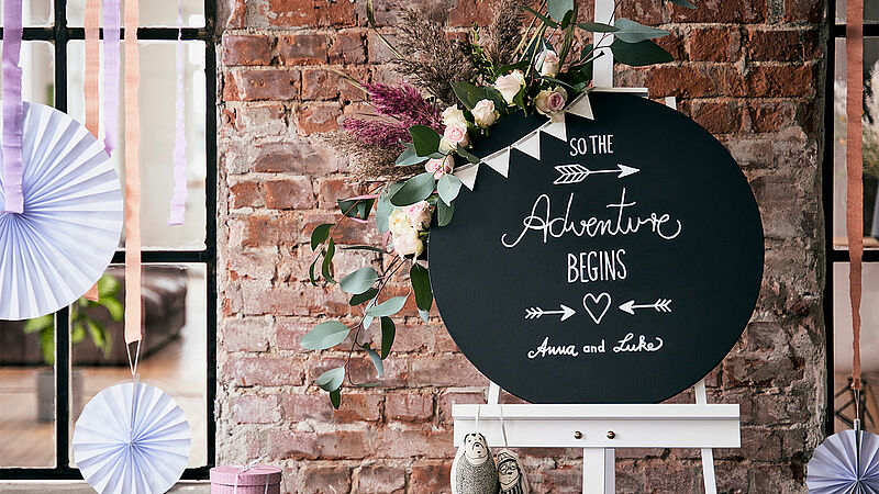 Chalkboard welcome sign for your wedding