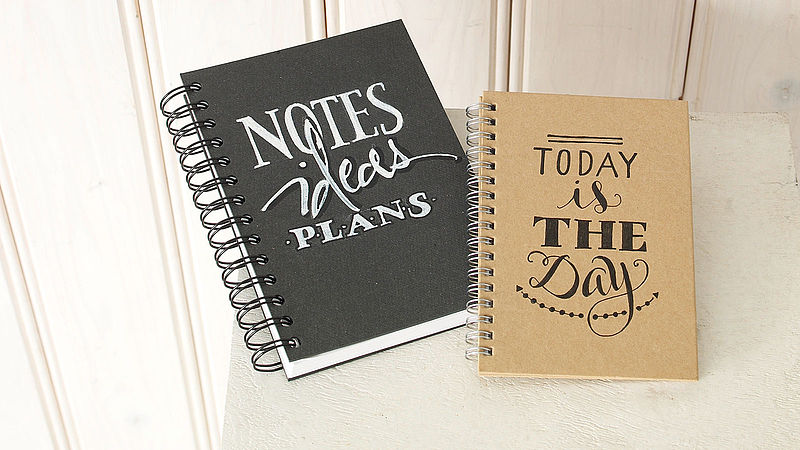 Notebook with stylish hand lettering