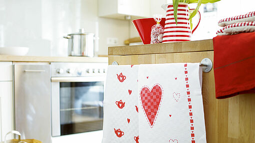 A lovely towel to brighten up a kitchen