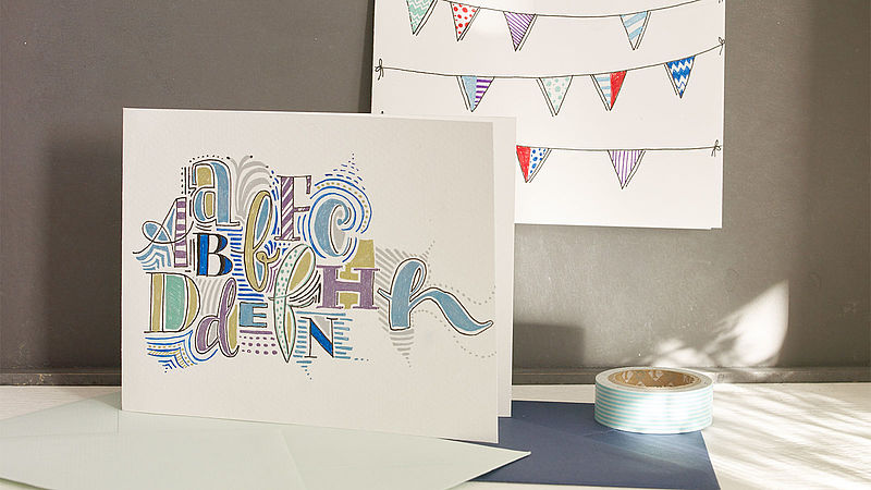 Handmade alphabet greeting card