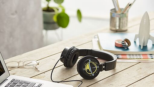 Galactically painted headphones