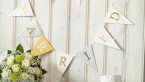 """Just Married"" – handmade wedding bunting"