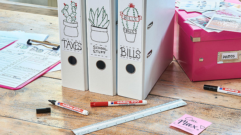 Organise your home with edding permanent markers