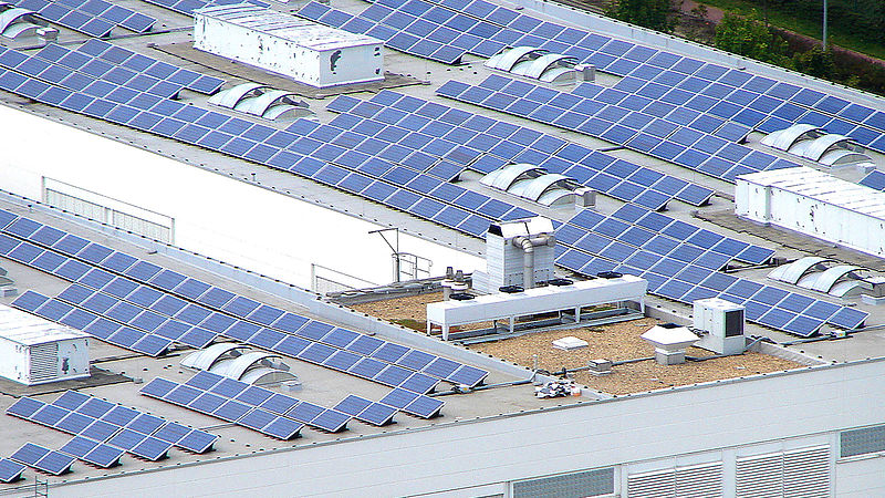 Solar power plant on the roofs of edding's production site in Bautzen, Germany