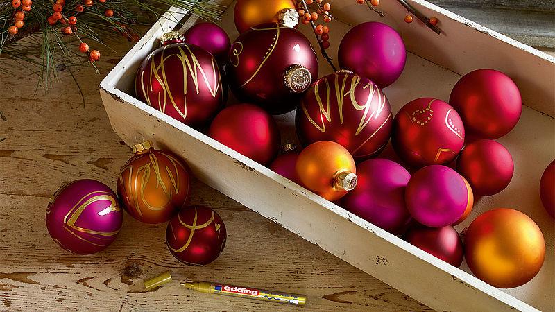 weihnachtskugeln selbst gestalten ideen edding. Black Bedroom Furniture Sets. Home Design Ideas