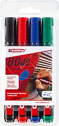Edding 330 Permanent Marker Chisel Tip Black Pack of 4