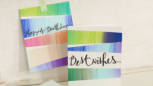 Handmade cards with colour gradients