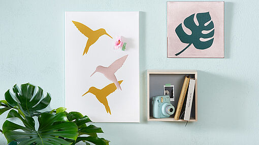 DIY canvas wall art with hummingbird motif