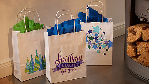 Decorating gift bags for Christmas