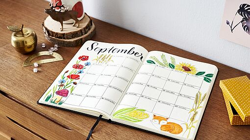 September bullet journal; maandoverzicht