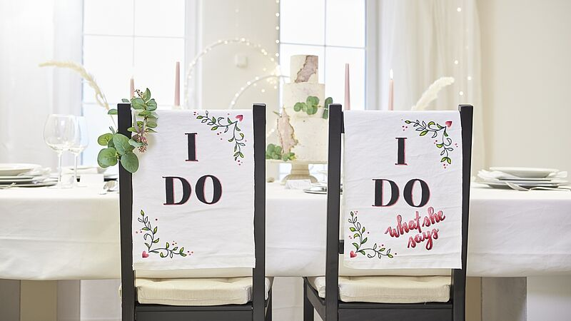 DIY wedding chair signs