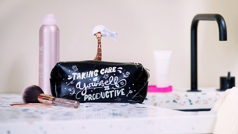 Makeup bag with a cool design
