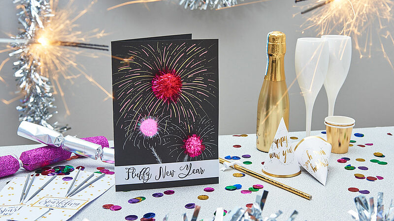 New Year's pom pom card