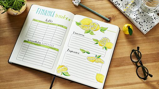 Bullet journal juli; finance tracker