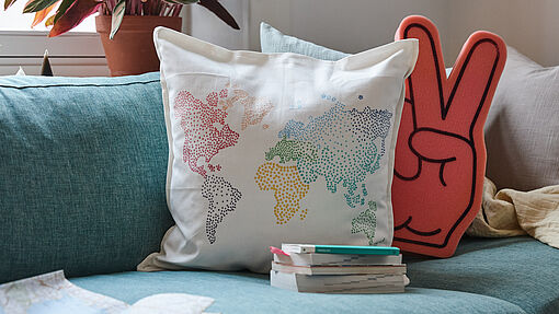 DIY world map cushion