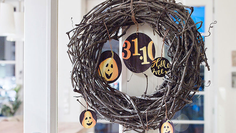A Halloween door wreath