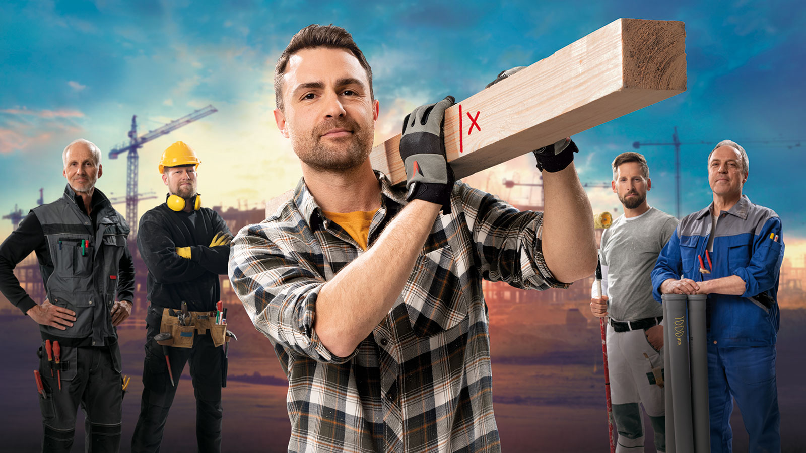 Carpenter holding a piece of wood