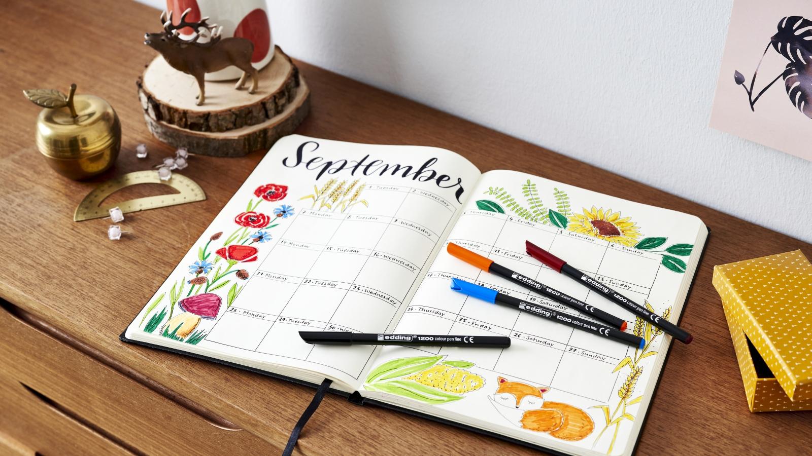 September bullet journal monthly overview   Ideas   edding