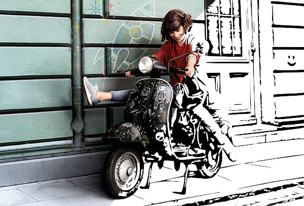 Woman on a vespa