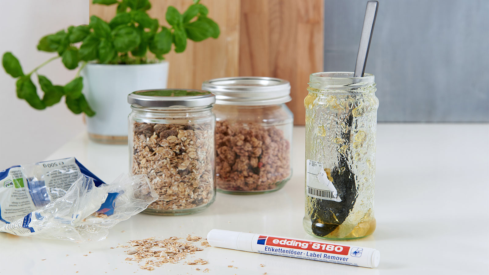 remove sticker residue from glass jars - with edding
