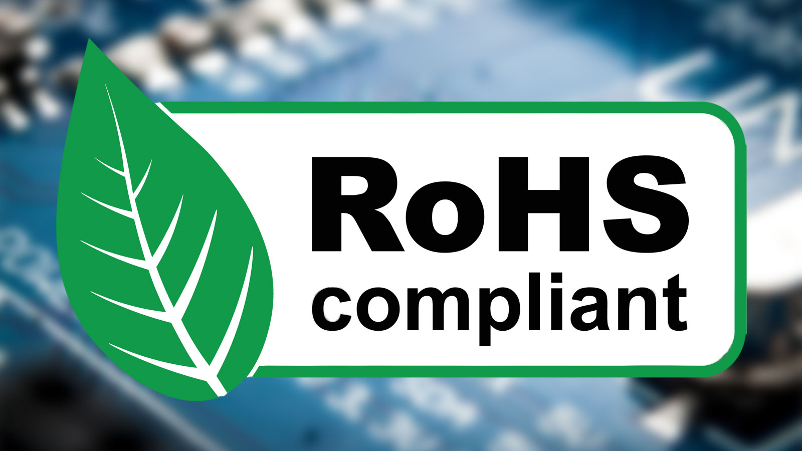 ROHS compliant sign with green leaf, vector illustration